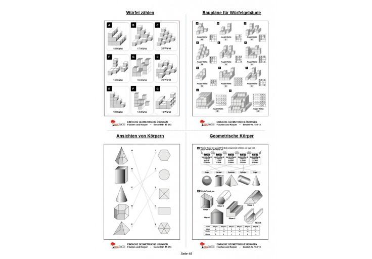 Mathe übungen Zusammengesetzte Flächen : Einfache geometrische Übungen flächen und körper